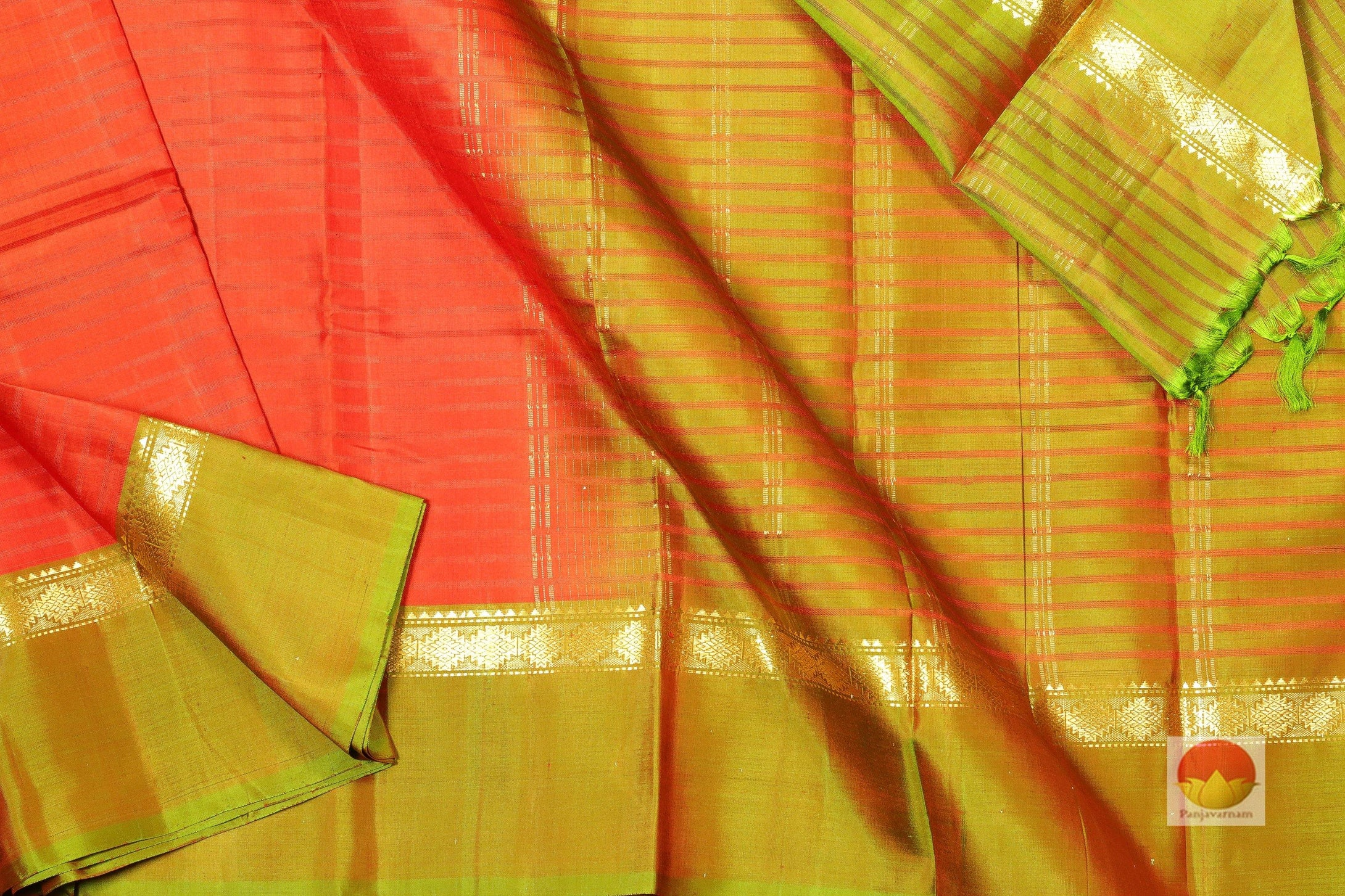 body and pallu of orange red  kanjivaram pure silk saree
