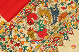 Handpainted Kalamkari Silk Saree - Vegetable Dyes - PKF 160