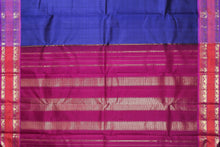 Load image into Gallery viewer, Pallu of ms blue and pink traditional kanjivaram pure silk saree