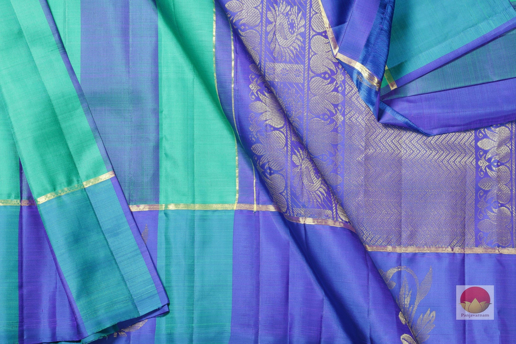 body, border and pallu of blue kanjivaram pure silk saree