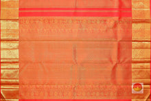 pallu detail of orange traditional design kanjivaram pure silk saree