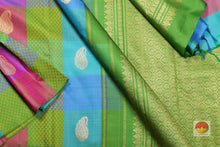body and pallu of multicolour checks kanjivaram saree