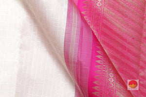 fabric detail of silk yarn in white  kanjivaram silk saree