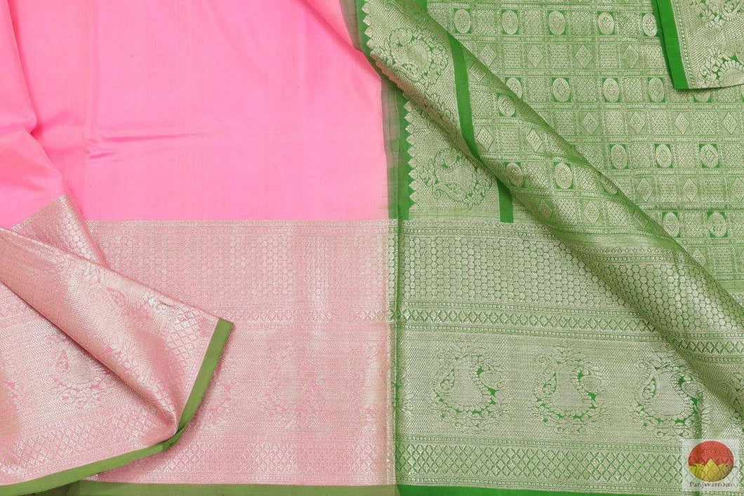 Lotus Pink & Green - Handwoven Pure Silk Kanjivaram Saree - Pure Zari - PV SVS 2066 Archives