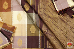 Borderless - Multi Colour Checks - Handwoven Pure Silk Kanjivaram Saree - Pure Zari - J11059 Archives