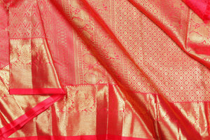 pallu detail of traditional design BRIDAL kanjivaram pure silk saree