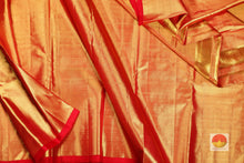 body and pallu of  red  kanjivaram pure tissue saree