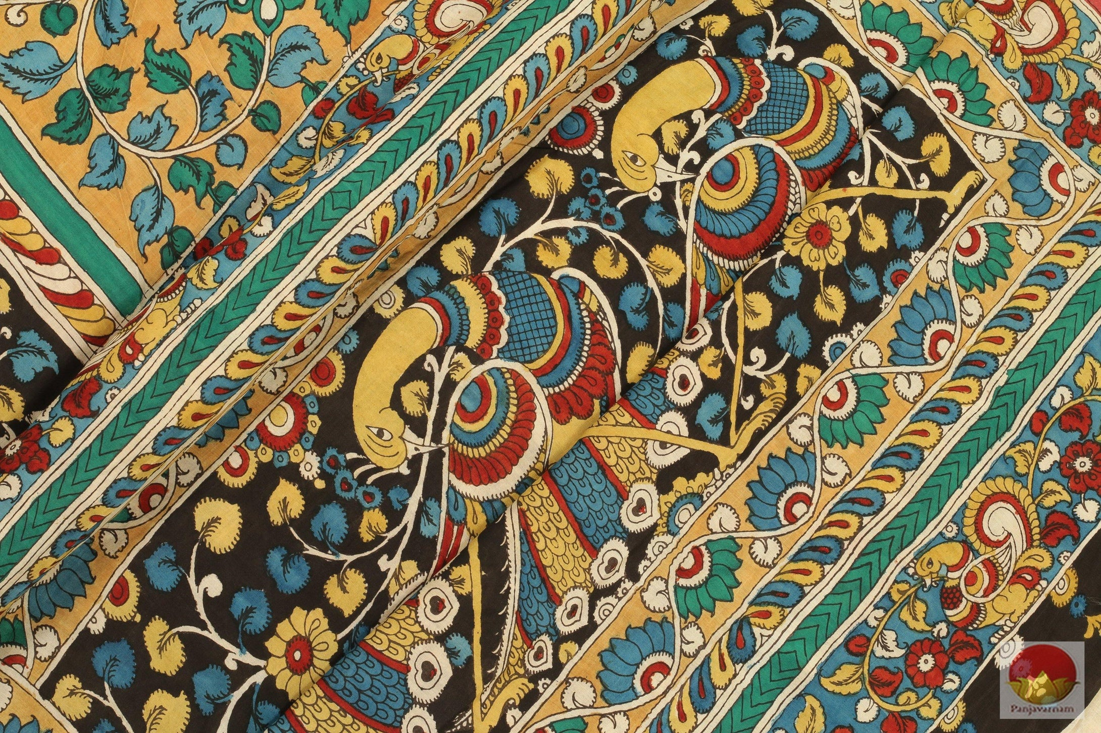 Handpainted Kalamkari Silk Saree - Vegetable Dyes - PKBD 208 Archives