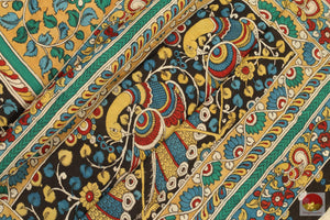 Handpainted Kalamkari Silk Saree - Vegetable Dyes - PKBD 208