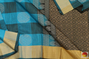 Blue & Black - Kanchipuram Silk Saree - Handwoven Pure Silk - Pure Zari - PV .G 4180