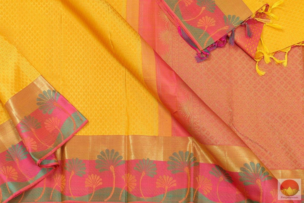 Yellow & Peach - Handwoven Kanchipuram Pure Silk Saree - Pure Zari - PV G 4120 -  Archives