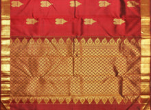 Load image into Gallery viewer, pallu detail of traditional design kanjivaram pure silk saree