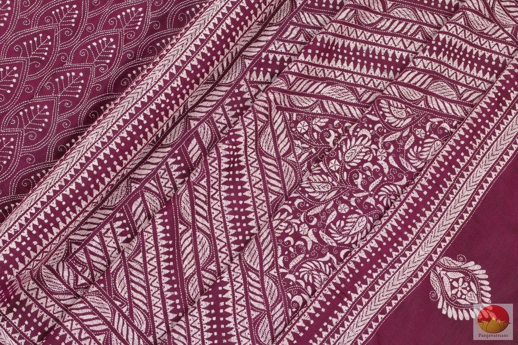 fabric detail of kantha work saree