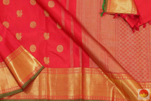 Body, border and pallu of red kanjivaram saree