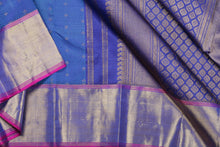 Load image into Gallery viewer, Traditional design kanjivaram pure silk sari in BLUE