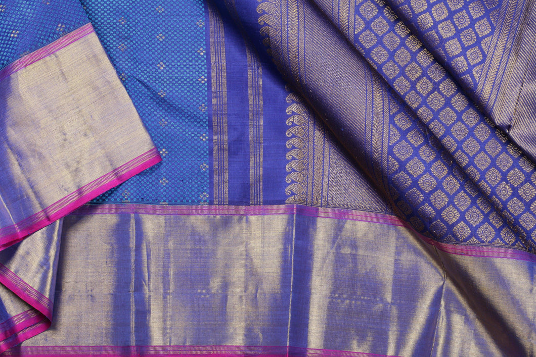 Traditional design kanjivaram pure silk sari in BLUE