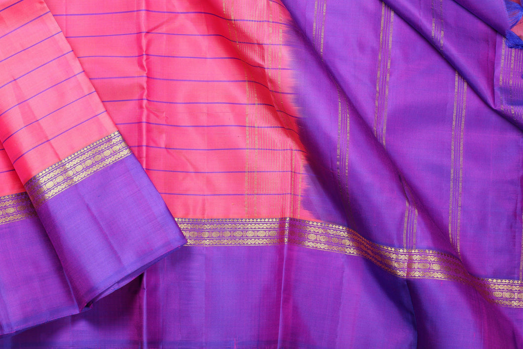 Light weight handwoven PINK AND PURPLE kanjivaram silk saree