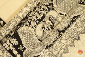 Handpainted Monochrome Kalamkari Silk Saree - Vegetable Dyes - PKM 171