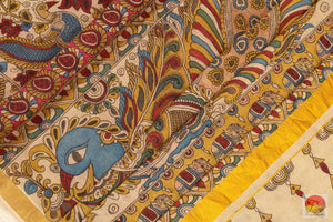 fabric detail of kalamkari silk cotton saree