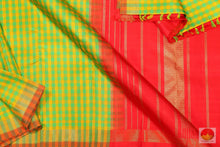 Green & Yellow - Handwoven Pure Silk Kanjivaram Saree - Pure Zari - PV G 1918 - Archives