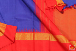 MS Blue & Red - Temple Border - Kanjivaram Silk Saree - Handwoven Pure Silk - Pure Zari - PV G4063 Archives