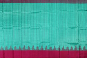 Cyan body of temple border handwoven kanjivaram saree