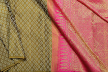 Borderless handwoven pure silk kanjivaram saree in offwhite