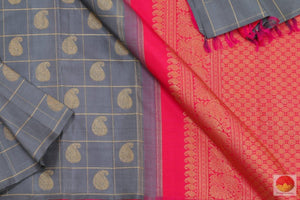 body and pallu of grey and pink kanchipuram silk saree