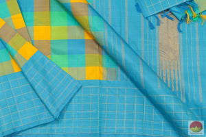 Multicolour Checks - Kanchipuram Silk Saree - Handwoven Pure Silk - Pure Zari - PV G 4176