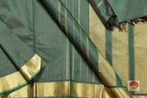body, border and pallu of bottle green kanjivaram pure silk saree