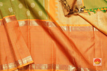 body, border and pallu of  green  kanjivaram pure silk saree