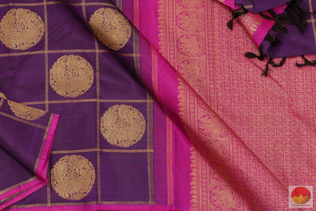 Purple & Magenta - Borderless Kanchipuram Silk Saree - Handwoven Pure Silk - Pure Zari - PV G 4159