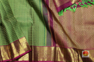 body, border and pallu of green and maroon kanjivaram pure silk saree