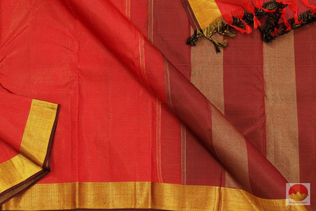 Chilli Red & Maroon - Kanchipuram Silk Saree - Handwoven Pure Silk - Pure Zari - PV SVS 2048 Archives