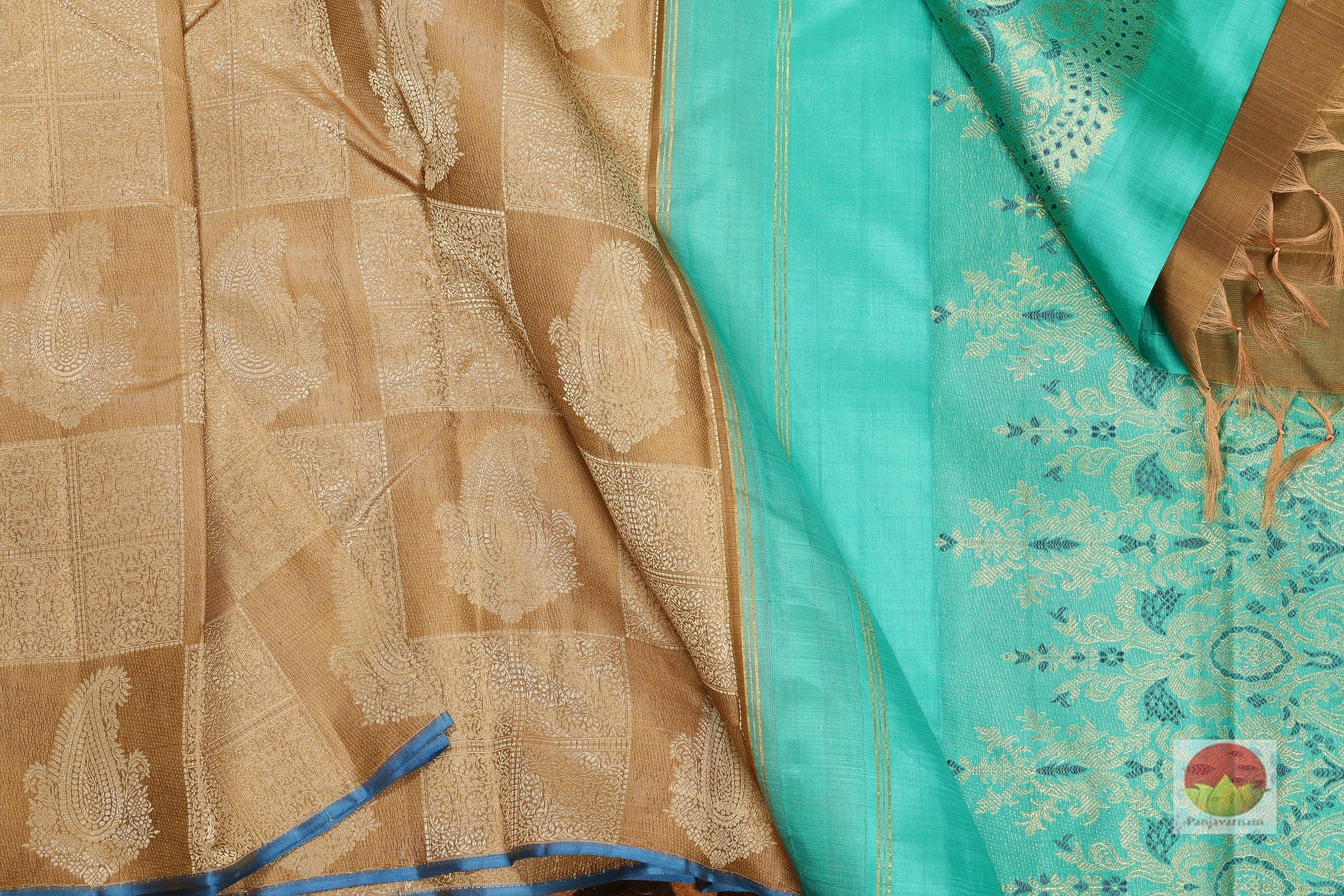 body and pallu of honey yellow kanjivaram pure silk saree