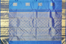 pallu detail of blue traditional design kanjivaram pure silk saree
