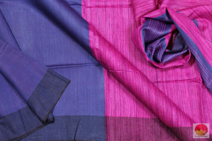 Indigo Blue and Magenta - Handwoven Linen Saree - PL 200 Archives