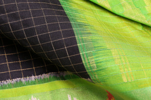 Fabric view of silk yarn used in black pochampally silk saree