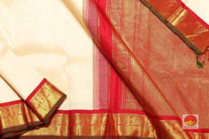 body, border and pallu of off white kanjivaram pure silk saree