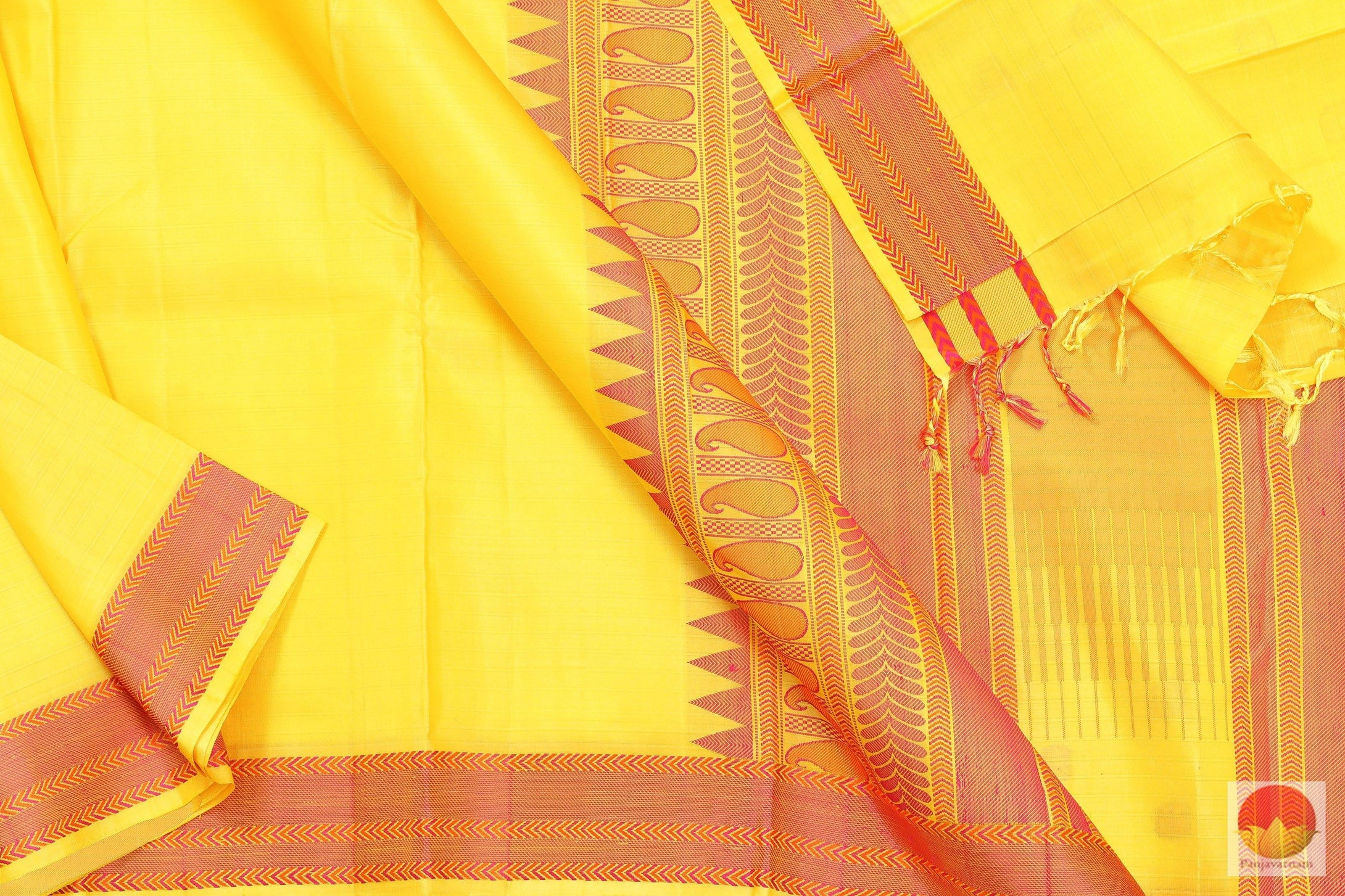 Kanchipuram Silk Saree - Handwoven Pure Silk - No Zari - PV NZ 4604