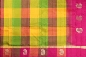multicolour checked Kanjivaram pure silk saree