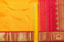 border detail of mango yellow kanjivaram silk saree