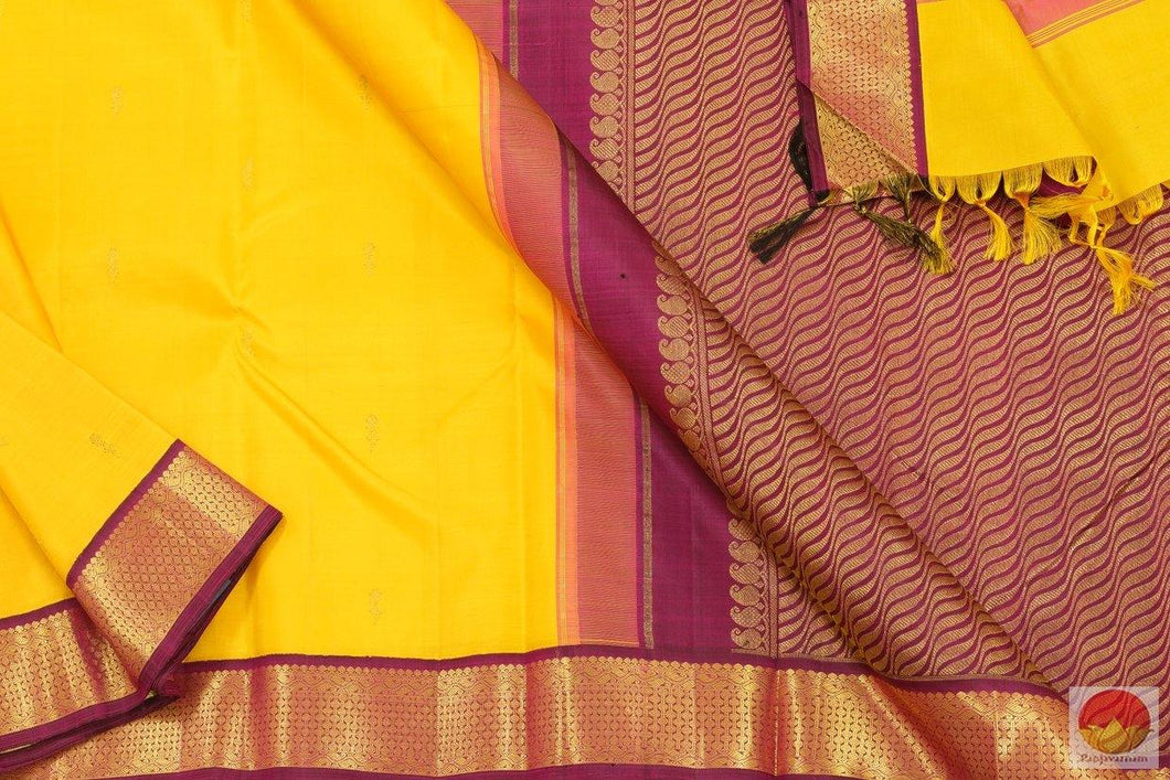 Yellow & Magenta - Kanchipuram Silk Saree - Handwoven Pure Silk - Pure Zari -  PV G 4169