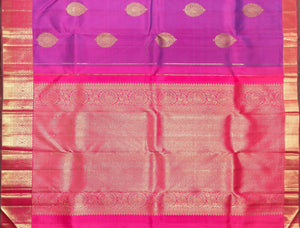 pallu detail of traditional design purple kanjivaram pure silk saree