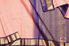 body, border and pallu of orange checks kanjivaram pure silk saree