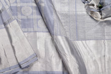 body and border detail of grey kanjivaram silk saree
