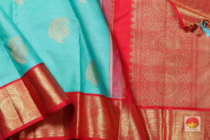 body, border and pallu of teal kanjivaram pure silk saree