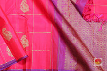 body and pallu of pink kanjivaram silk saree