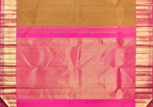 pallu detail of traditional design mustard kanjivaram pure silk saree