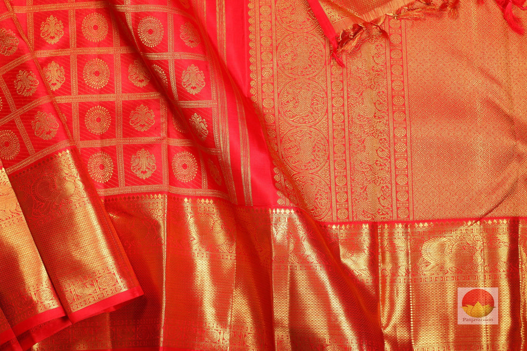 body, border and pallu of kumkuma red  kanjivaram pure silk saree